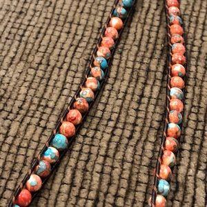 Orange/Brown/Blue beaded necklace